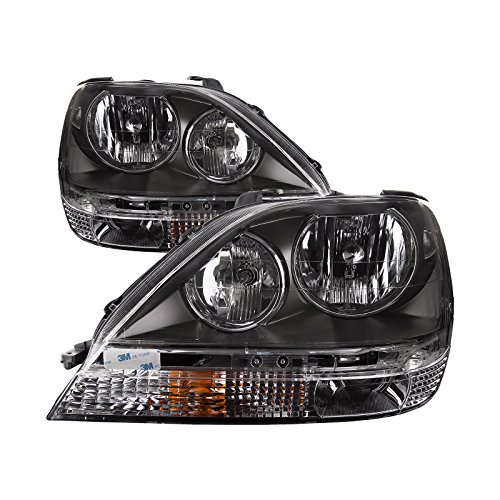 HEADLIGHTSDEPOT Black Housing Halogen Headlight Compatible with Lexus RX300 1999-2003 Includes Left Driver and Right Passenger Side - 1999 Side Passengers Headlamp