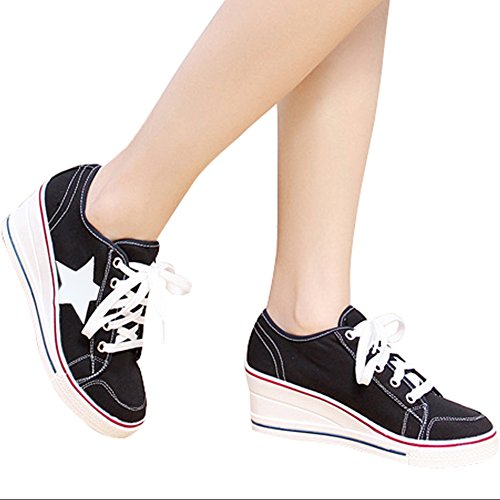 Up Pump Padgene Fashion Platform Shoes Wedges Shoes Black Heeled 2 Lace High Canvas Women's Sneakers PwPqSZY