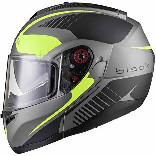 Black Optimus SV Tour Motorrad Roller Klapphelm S Matt Black Safety Yellow