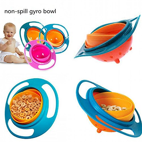 LiangTing Spill Resistant Gyro Bowl with Lid - Less Mess Toddler Bowl
