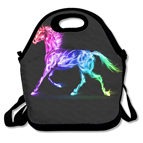 Unicorn Horse Retro Insulated Heating Polyester Strap Women Men Kids Toddler Black Lunch Bag Tote Purse For Outdoor Office