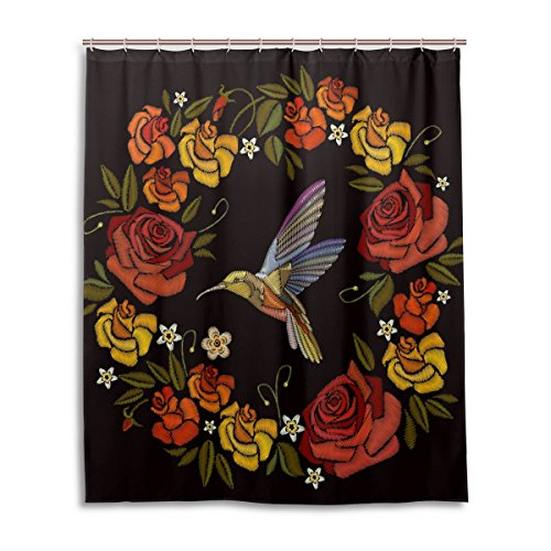 WIHVE Shower Curtain Roses Hummingbirds Embroidery Polyester Fabric Curtains Bathroom Decor Set with 12 Pieces Hooks, Bathroom Accessories Size 60
