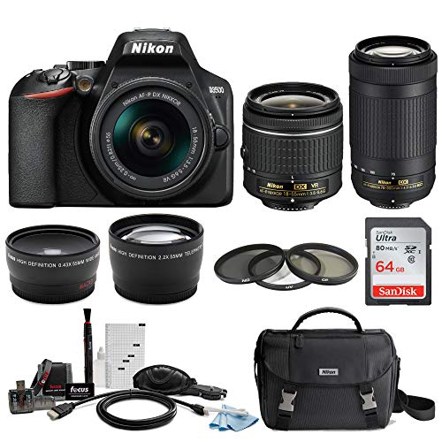 Nikon D3500 DSLR Camera with AF-P 18-55mm and 70-300mm Zoom Lenses with 64GB Card and Accessory Bundle (Best Entry Level Digital Slr Camera)