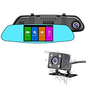 nexgadget car camera dual lens x508 series touch screen rearview mirror dash cam. Black Bedroom Furniture Sets. Home Design Ideas