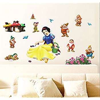 Fangeplus(TM) DIY Removable Snow White Princess And Dwarfs Art Mural Vinyl  Waterproof Wall Part 81