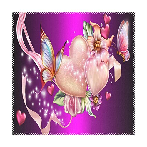 (LoveBea Butterfly Heart Wallpaper Square Placemats for Dining Table Set Heat Resistant Washable Polyester Kitchen Table Mats)
