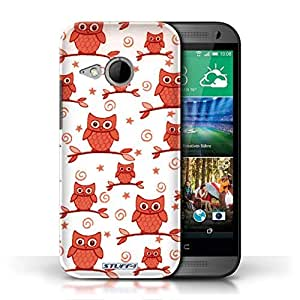 KOBALT? Protective Hard Back Phone Case / Cover for HTC One/1 Mini 2 | Red/White Design | Cute Owl Pattern Collection by lolosakes