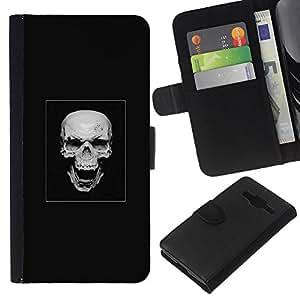 """A-type (Cráneo malvado de la risa"""") Colorida Impresión Funda Cuero Monedero Caja Bolsa Cubierta Caja Piel Card Slots Para Samsung Galaxy Core Prime"""