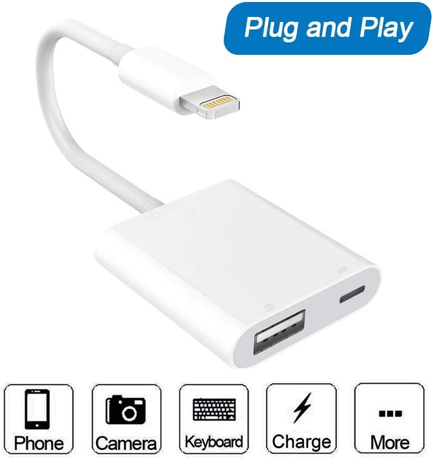 Elecjoy USB Camera Adapter, USB 3.0 Female Otg Adapter Cable with USB Power Interface Data Sync Charge Cable,No App Required