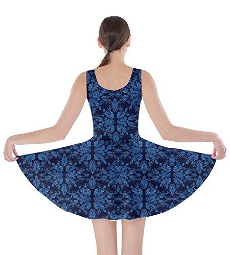 Arabesque Womens Dress XS Floral Damask Skater Damask CowCow 5XL Blue Oriental Floral White Black dW8qx6XzwS