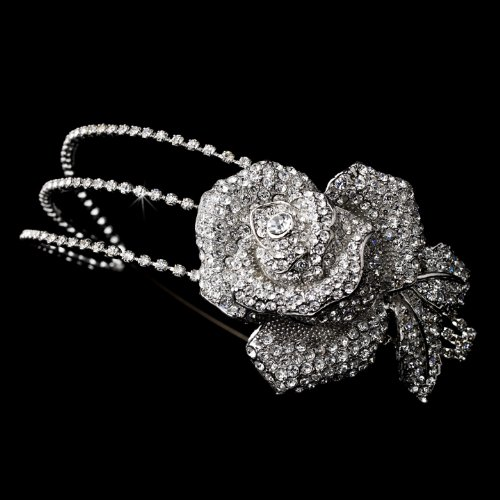 Antique Silver Clear Flower Side Accented Headband by IzzyGifts