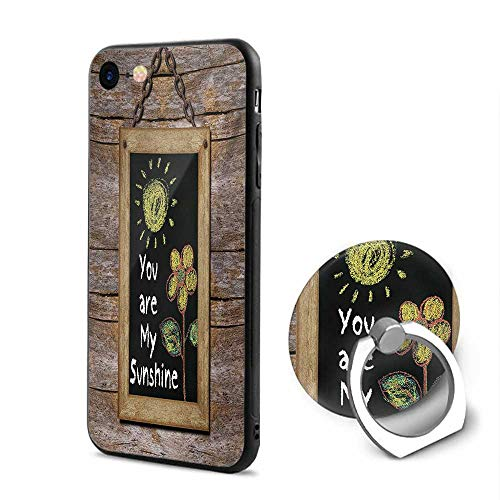 Quote iPhone 6/iPhone 6s Cases,Love Valentines Phrase with Flower and Hand Drawn Sun Figure on Framed Wooden Wall Multicolor,Mobile Phone Shell Ring Bracket ()