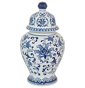 Three Hands 27578 Blue & White Ceramic Temple Jar