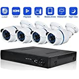 Security Camera System Outdoor cameras Abowone 4 Channels 1080P POE NVR And (4) 720P HD Indoor&Outdoor IP66 Weatherproof POE Security Cameras IR LED Night Vision Home Security Camera System