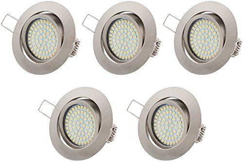 TEVEA® Ultra Flach LED Einbaustrahler Tolles Design Warmweiß 3.5W 230V Einbauleuchten, 5er Pack