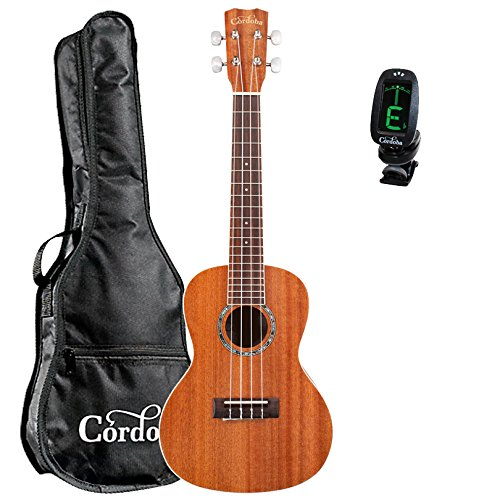 Cordoba 15CM Acoustic Concert Ukulele guitarVault Bundle With Cordoba Gig Bag and Clip-On Tuner