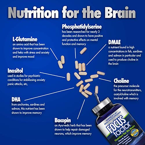 Amazon.com: Focus Factor Nutrition for The Brain - Improves Memory & Concentration - DMAE, B6, B12, Bacopa - Americas #1 Clinically Proven Brain Booster ...