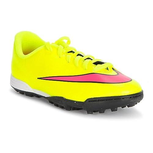 Nike MERCURIAL VORTEX 2 Cristiano Ronaldo NIÑO AMARILLO FLUOR zapatilla fútbol calle TF - 38: Amazon.es: Zapatos y complementos