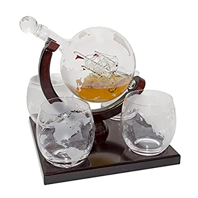Etched Globe Whiskey Decanter Set - 4 Glasses & Large Glass Beverage Bar Drink Dispenser for Wine Whiskey Brandy Tequila Bourbon Scotch Rum & Liquor / Spirits - Alcohol Related Gifts for Dad