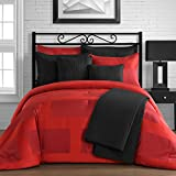 King & Queen Home Modern Frame Microfiber Lacquer 5 Piece Comforter Set (Queen, Red)