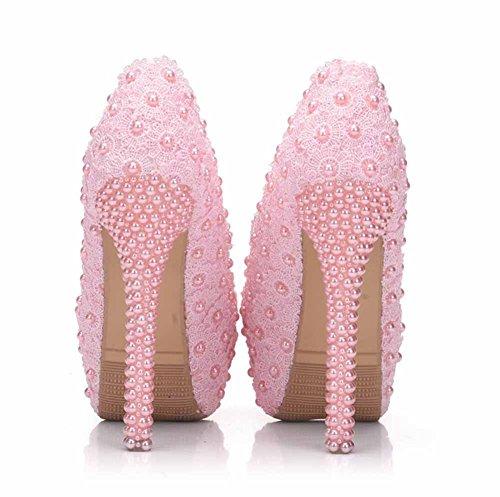 Charme La Taille Chaussures Pompes Haut Talon Mariage Blanc Plate Dentelle Rose Femmes Grand Perle Romantique Mariée Chaussures forme OwaUx0qv