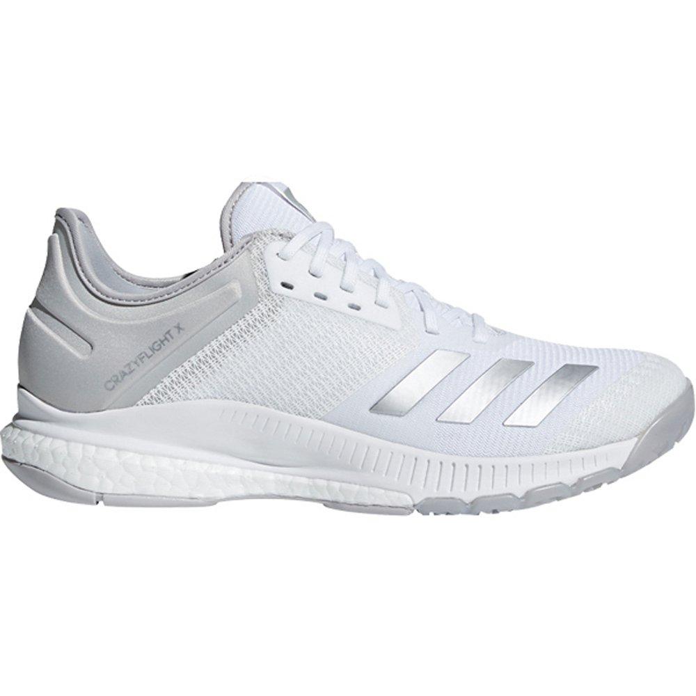 adidas Women's Crazyflight X 2 Volleyball Shoe, White/Silver Metallic/Grey, 9 M US