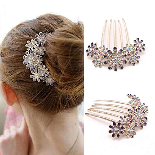 Crystal Simulate Austrian - Crystal Rhinestones Flower Hair Clip Comb Pin For Women Bridal Wedding Headdress Accessories Gift Silver Plated
