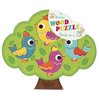 Schylling Little Classics Birds in A Tree Wooden Puzzle, Green: Toys & Games