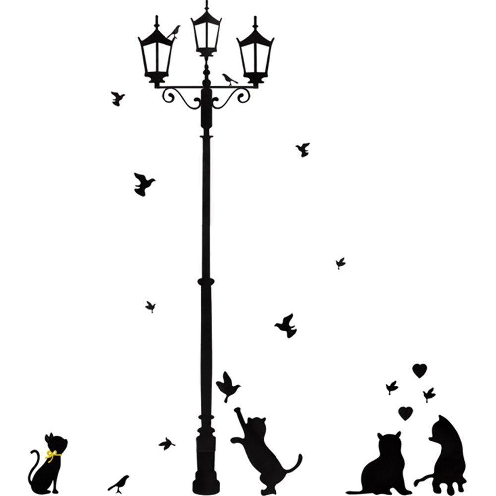 Romote Wall Sticker Te Lampada Cat Uccello Rimovibile Drawing Room casa sul Posto di Lavoro Nero Lampada Luce Stradale