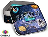 QURIOUS SPACE - 4 STEM space card games! Explore, Match, Quiz & Spin through the Universe! 90 double-sided, full-color play cards. Age 7+