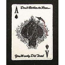 Ace Of Spades Grim Reaper Death Card Tactical Swat Velcro Morale Badge Patch
