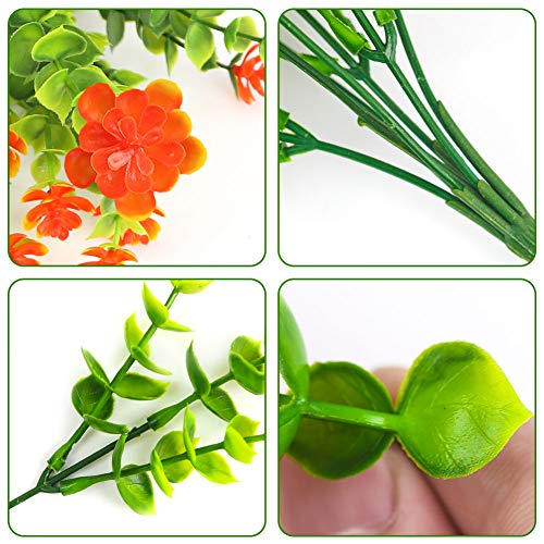 BigOtters Artificial Flowers, 6 Bundles Fake Flowers with Leaves Fake Grasses Faux Outdoor Plastic Plants for Garden Porch Window Box Wedding Decor