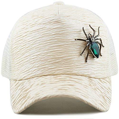 d7a845fe108 THE HAT DEPOT Unisex Sequins Glitter Ornament Mesh Trucker Cap Snapback Hat  (Spider-Beige