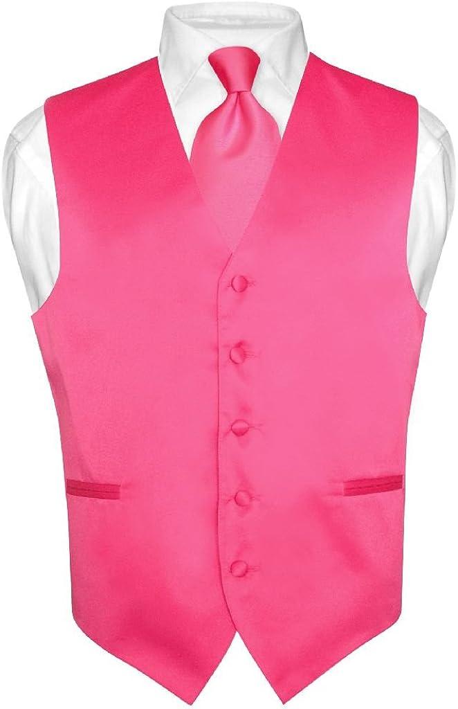Men's Dress Vest & Necktie Solid HOT Pink Fuchsia Color Neck Tie Set
