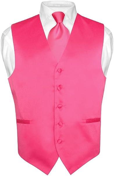 Los hombres del vestido chaleco y corbata sólido rosa fucsia Color ...