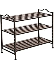 SONGMICS 3- Tier Slat Shoe Rack, Stackable and Expandable with Adjustable Shelves, Entryway Shoe Storage Organizer with Metal Frame ULMR13AX