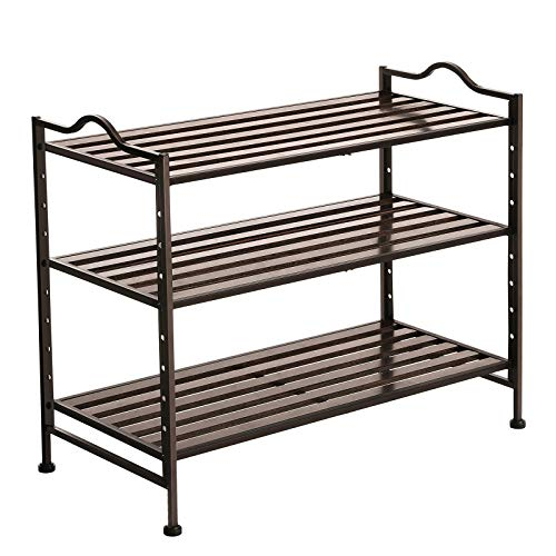 SONGMICS 3- Tier Slat Shoe Rack, Stackable and Expandable with Adjustable Shelves, Entryway Shoe Storage Organizer with Metal Frame ULMR13AX - Rack Stackable Expandable Shoe
