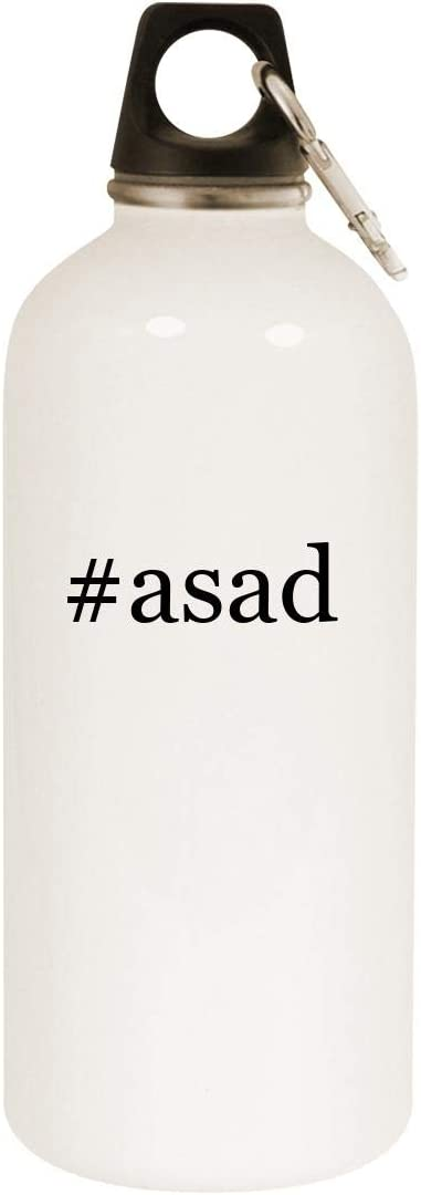 #asad - 20oz Hashtag Stainless Steel White Water Bottle with Carabiner, White