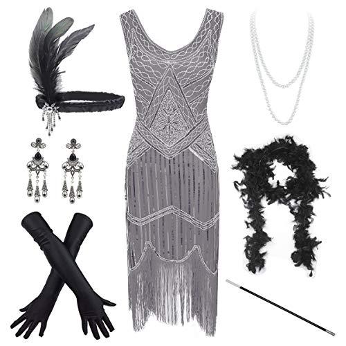 Women's Vintage 1920s Sequin Beaded Tassels Hem Flapper Dress w/Accessories Set (Medium, - 1920s Gatsby Beaded Dress Flapper