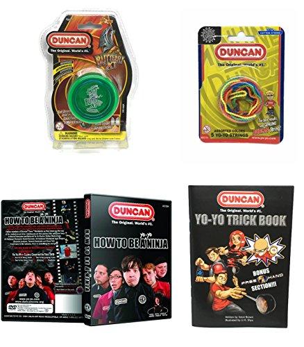 Duncan Intermediate YoYo Kit (4 Items) - Green Butterfly XT Yo-Yo, Multi-Color Yo-Yo String 5 Pack, Yo-Yo Trick Book, and How to Be A Yo-Yo Ninja DVD
