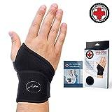 Doctor Developed Premium Copper Lined Wrist Support/Wrist Strap/Wrist Brace/Hand Support [Single]& DOCTOR WRITTEN HANDBOOK— RELIEF for Wrist Injuries, Arthritis, Sprains & More