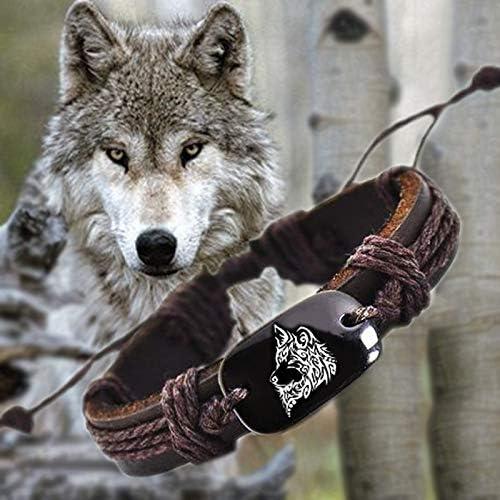 Amazon Com Timberwolves Animal Wolf Backer Woven Rope Leather