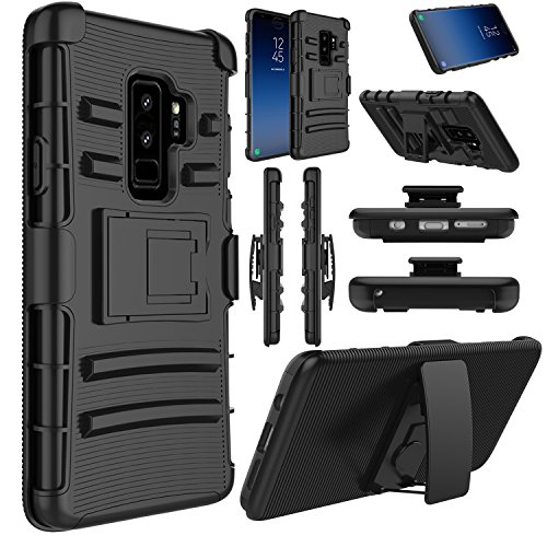 Elegant Choise Galaxy S9 Plus Case Hybrid Heavy Duty Full Body Protection Combo Rugged Holster Protetive Case with Kickstand and Swivel Belt Clip Compatible with Samsung Galaxy S9 Plus(Black)