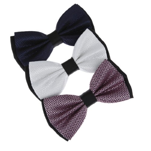 DBE3F06 Handmade Fabric Thistle White Checkered Black Midnight Blue Handmade Gift Giving Microfiber Pre-Tied Bowties 3 Package Set By Dan Smith