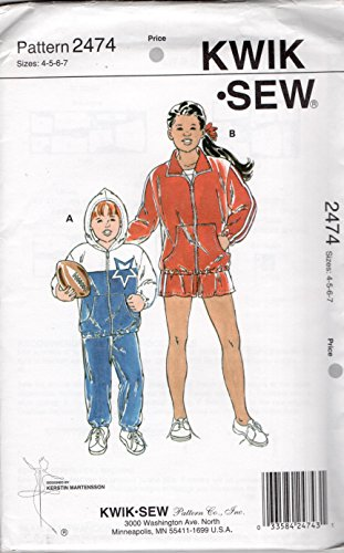 Kwik Sew 2474 Boy's and Girls' Windsuits: Jacket, Shorts and Pants Sewing Pattern Sizes - Boys Windsuit