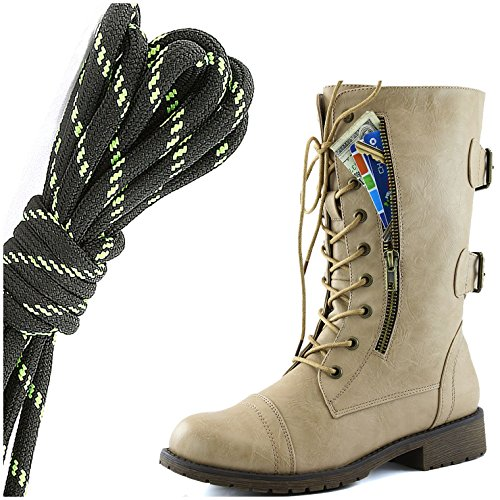DailyShoes Womens Military Lace Up Buckle Combat Boots Mid Knee High Exclusive Credit Card Pocket, Black Lime Flirty Beige
