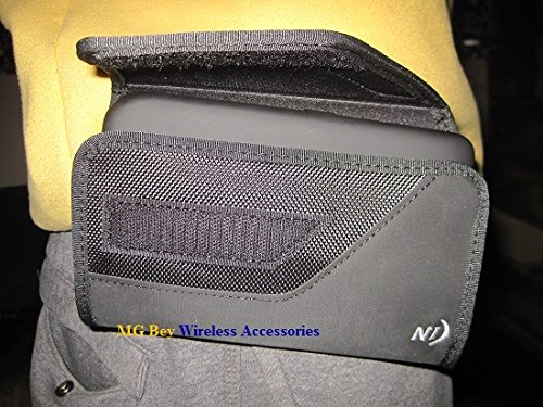 (Nite Ize Black Sideways Extended Extra XX-large Horizontal Rugged Heavy Duty Holster Pouch W/Fixed Belt Clip Fits ZTE Blade V8 Pro W/ Hybrid /Armor Case On Cellphone)