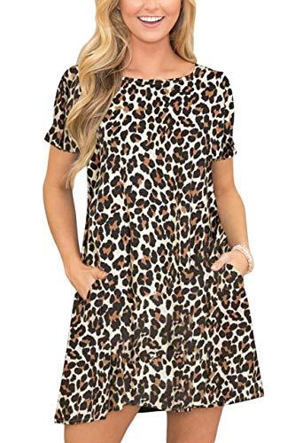 For G and PL Womens Short Sleeve Loose Swing Printed Pocket Fashion Casual Flowy T Shirt Dress Leopard - Leopard Printed Dress