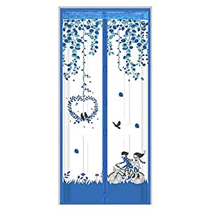 100 x 210 cm Curtain Anti Mosquito Magnetic Tulle Door Curtain Automatic Closing Door Screen Summer Mesh Net Keep the Bug Insect and Fly Out blue