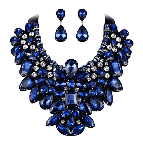(Flyonce 8 Colors Women's Stunning Crystal Costume Statement Necklace Earrings Set for Banquet, Prom Navy Blue)